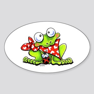 Blushing Frog Sticker (Oval)