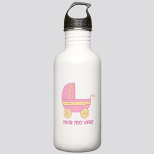 Pink Stroller and Text. Stainless Water Bottle 1.0
