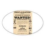James Younger Gang Wanted Sticker (Oval 50 pk)