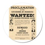 James Younger Gang Wanted Round Car Magnet