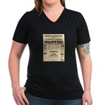 James Younger Gang Wanted Women's V-Neck Dark T-Sh