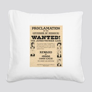 James Younger Gang Wanted Square Canvas Pillow