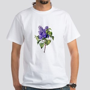 Lilac Drawn From Nature White T-Shirt