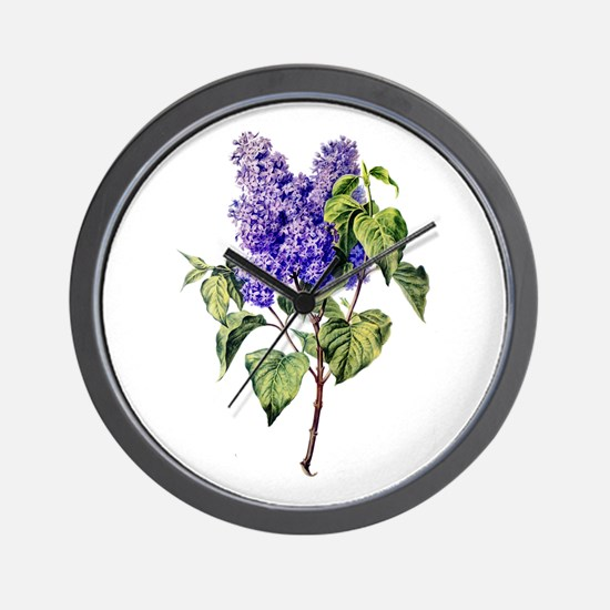 Lilac Drawn From Nature Wall Clock