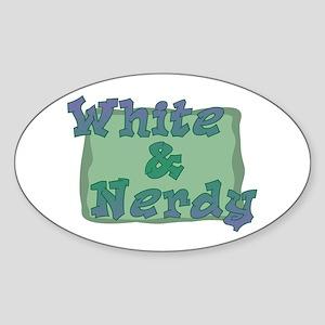 White & Nerdy Oval Sticker