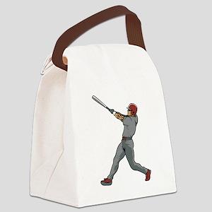 Left Handed Batter Canvas Lunch Bag