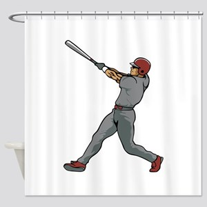 Left Handed Batter Shower Curtain