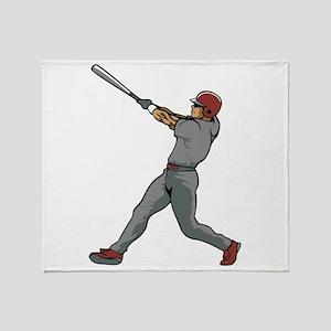 Left Handed Batter Throw Blanket