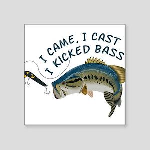 "I Kicked Bass Square Sticker 3"" x 3"""