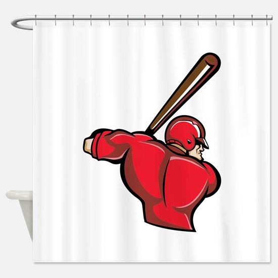 Red Baseball Batter Shower Curtain