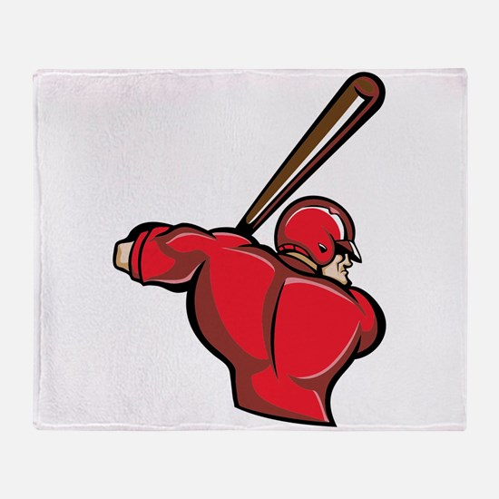 Red Baseball Batter Throw Blanket