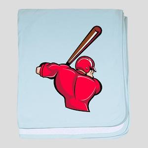 Red Baseball Batter baby blanket