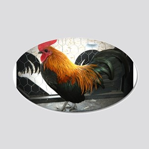 Bantam Rooster 20x12 Oval Wall Decal