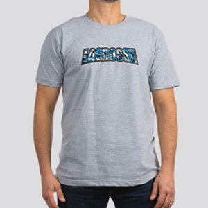 Lacrosse Blue Camo Men's Fitted T-Shirt (dark)