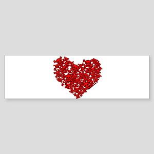 Skull Heart Red Sticker (Bumper)