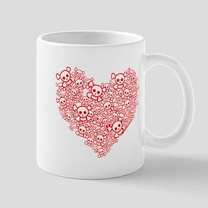 White & Red Skull Heart Mug