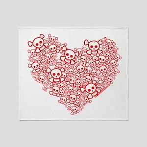 White & Red Skull Heart Throw Blanket