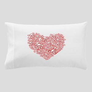 White & Red Skull Heart Pillow Case