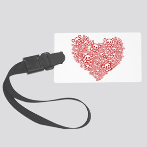 White & Red Skull Heart Large Luggage Tag