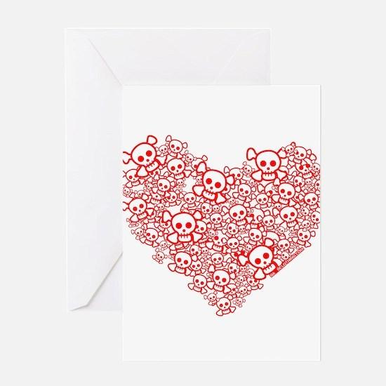 White & Red Skull Heart Greeting Card