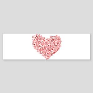 White & Red Skull Heart Sticker (Bumper)
