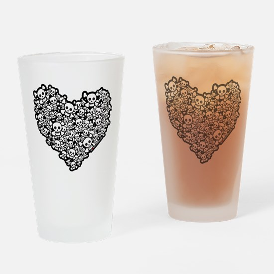 Cute Skull Hearts Drinking Glass