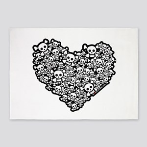 Cute Skull Hearts 5'x7'Area Rug