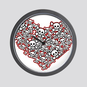 Pirate Skull Heart Wall Clock