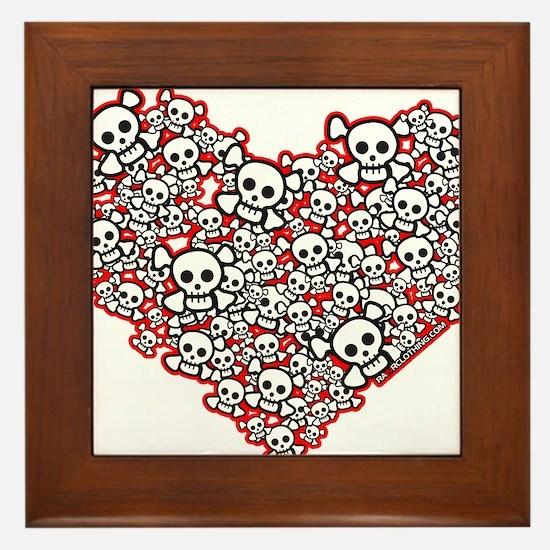 Pirate Skull Heart Framed Tile