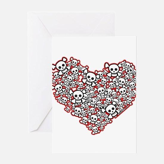 Pirate Skull Heart Greeting Card
