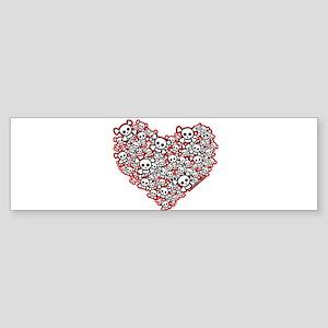 Pirate Skull Heart Sticker (Bumper)