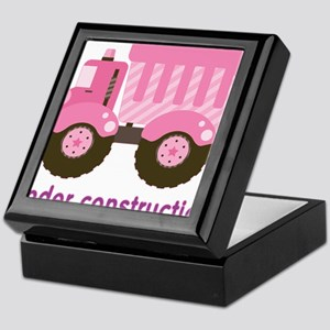 Under Construction Pink Truck Keepsake Box