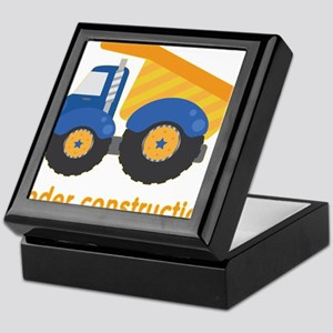 Under Construction Blue Truck Keepsake Box