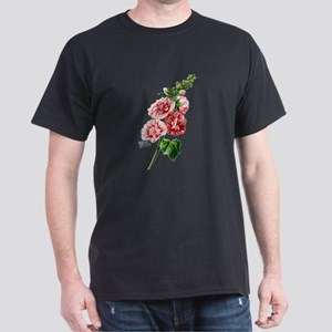 Hollyhocks Drawn From Nature Dark T-Shirt