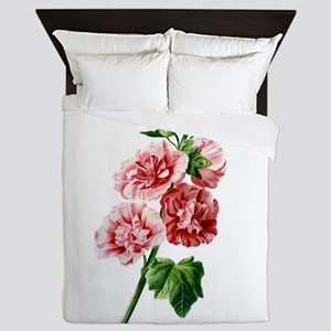Hollyhocks Drawn From Nature Queen Duvet