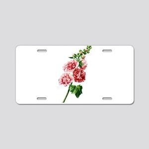 Hollyhocks Drawn From Nature Aluminum License Plat