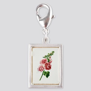 Hollyhocks Drawn From Nature Silver Portrait Charm