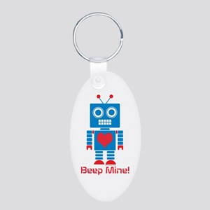 Beep Mine Robot Aluminum Oval Keychain