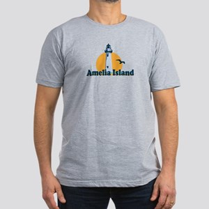 Amelia Island - Lighthouse Design. Men's Fitted T-