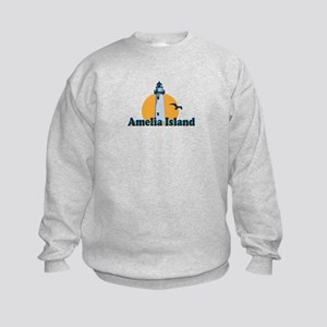 Amelia Island - Lighthouse Design. Kids Sweatshirt