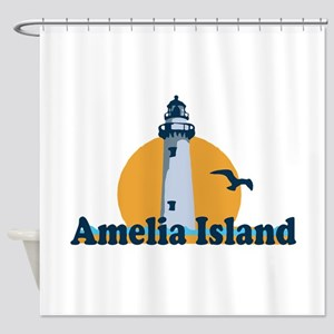 Amelia Island - Lighthouse Design. Shower Curtain
