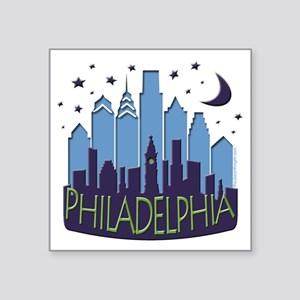 "Philly Skyline Mega Cool Square Sticker 3"" x 3"""