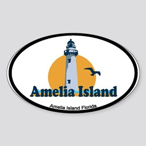 Amelia Island - Lighthouse Design. Sticker (Oval)