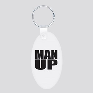 MAN UP Aluminum Oval Keychain