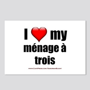 """""""Love Menage a Trois"""" Postcards (Package of 8)"""