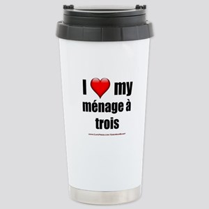 """""""Love Menage a Trois"""" Stainless Steel Travel Mug"""