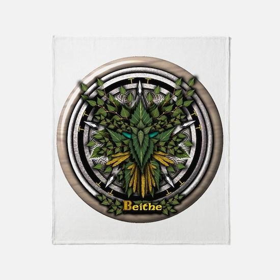 Birch Celtic Greenman Pentacle Throw Blanket