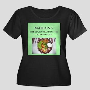 mahjong Women's Plus Size Scoop Neck Dark T-Shirt