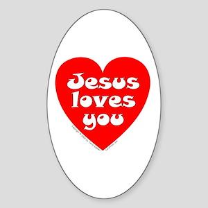 Jesus Loves You Oval Sticker