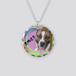 Smile Pit Bull Necklace Circle Charm
